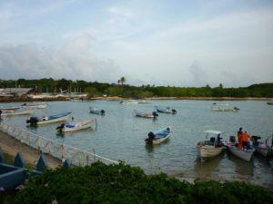 Hafen von Buccoo auf Tobago in der Akribik mit langem Sandstrand, Palmen und bunten Fischerbooten. In der Nähe sind das Buccoo Reef und der Nylon Pool.