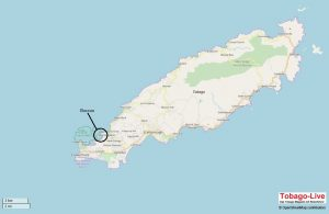 Auf der Karte von Tobago sieht man, dass Buccoo im Süd-Westen der Insel direkt an der Karibik liegt.