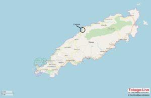 Auf der Karte von Tobago sieht man, dass Castara im Westen der Insel direkt an der Karibik und am Regenwald liegt.