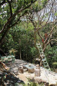 Der Garten im Breath of Heaven in Goodwood auf Tobago in Trinidad und Tobago in der Karibik verfügt über viele Bäume und Sitzgelegenheiten