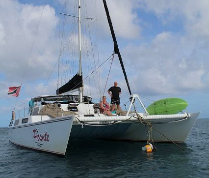 The catamaran Picante on Tobago in Trinidad and Tobago in the Caribbean is a sailing ship. There are trips as Sunsettour, charter, snorkel tour, Honeymoon, in pairs. Cheap and reliable with very good service.